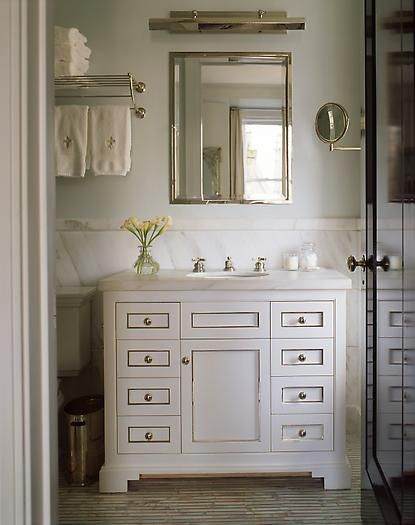 bathroom vanity idea...towels too with fleur de lis