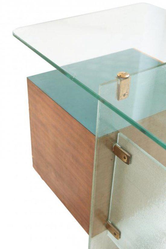 """GIO PONTI Una piccola scrivania per gli uffici Vetrocoke, Milano, 1939. Cristallo temperato marcato """"Vitrex"""", legno di teak, formica, ottone..."""