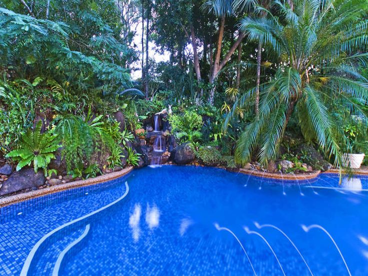 In-ground pool design using slate with bbq area & fountain - Pool photo 255522