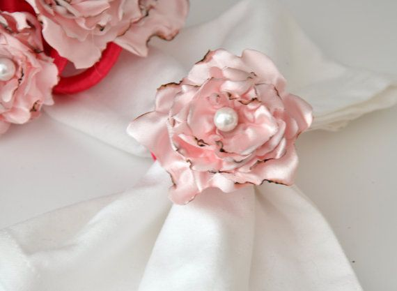Pink Napkin Rings by Satin Fabric Flowersset of 6 rings by DOGAART, $33.00