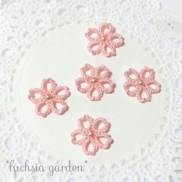 〈再販2〉タティングのミニ桜モチーフ 同色5個セット ~淡いピンク~