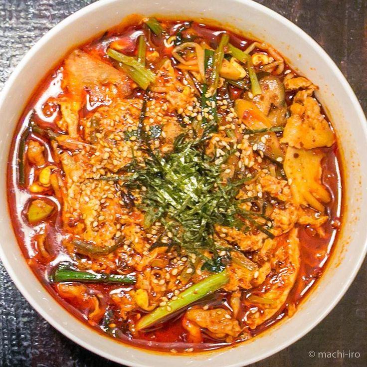 辛旨のユッケジャンスープ最後にご飯を追加するとユッケジャンクッパになり二度美味しいソウルキッチンTAOのラーメンです #ラーメン #ramen #ユッケジャン #ソウル #TAO #奄美大島 #マチイロ #machiiro #amami