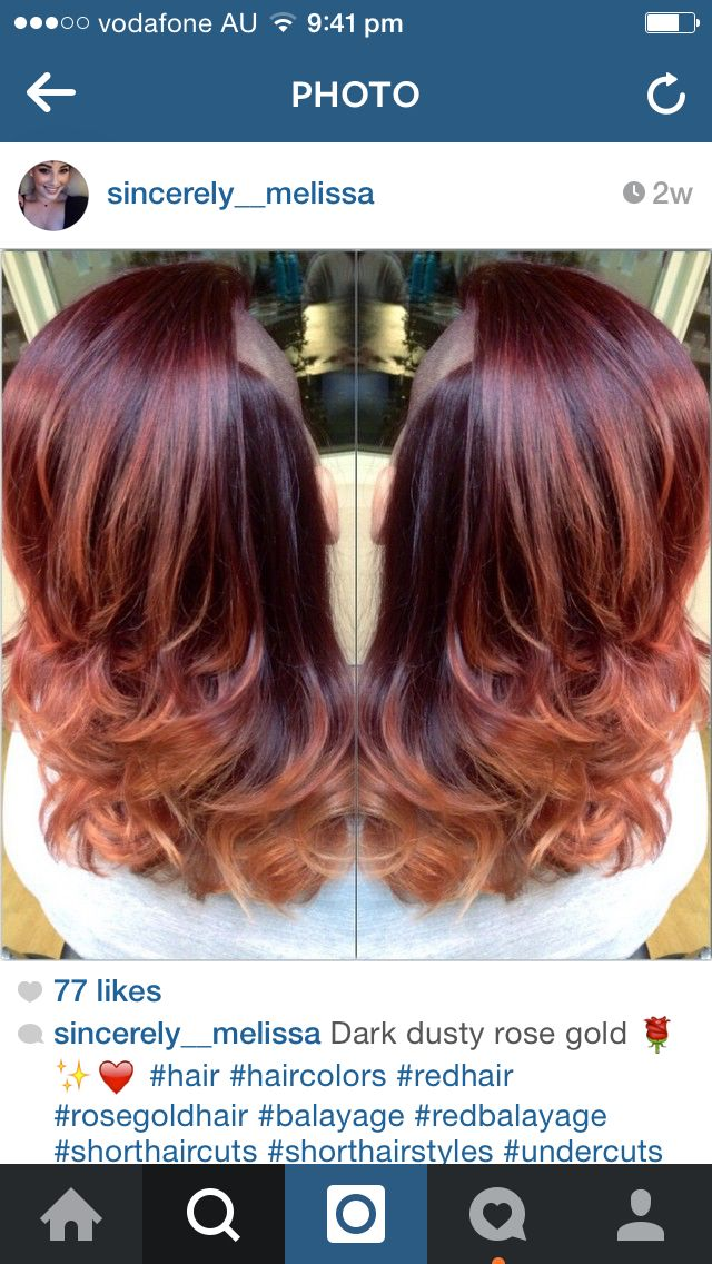 Dark rose gold ombre