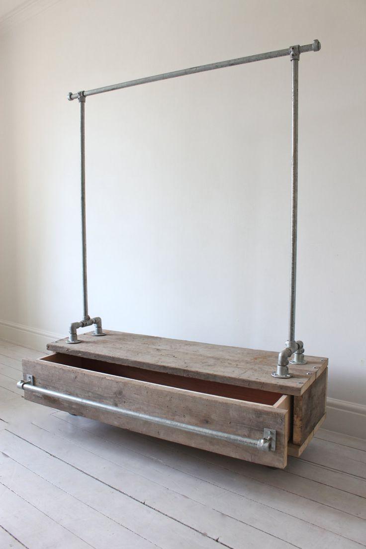 Pia galvanisé tuyaux en acier tringle avec tiroirs bois
