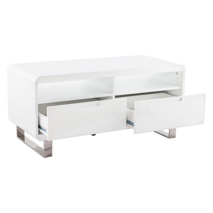 installez votre cran sur le meuble tv lifou en bois laqu blanc les - Mini Meuble Tv Alinea