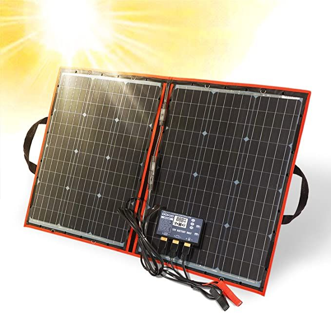 Dokio Portable 100 Watts 12 Volts Solar Panel Foldable Monocrystalline With Charge Controller With Dual Usb Ou In 2020 Portable Solar Panels Solar Charger Solar Panels