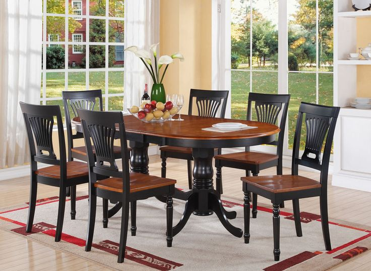 PLAI7-BLK-W 7 Pieces dining room set-dining table and 6 kitchen dining chairs #EastWestFurniture #Traditional