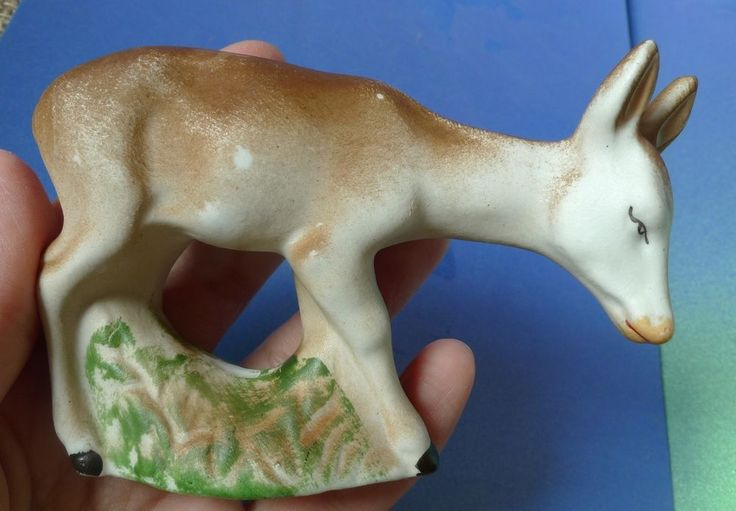 Old Vintage Porcelain Bisque Figurine Animal Roe Deer Donkey Collectibles Decor