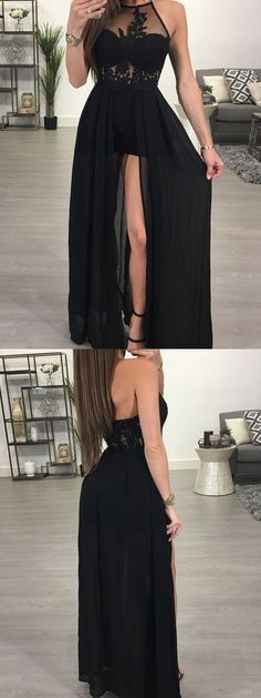 Black chiffon prom dresses,long bridesmaid dresses