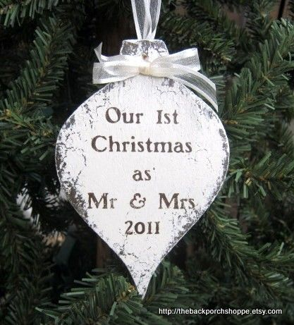 Mr and Mrs CUSTOM CHRISTMAS ORNAMENT 2012 by thebackporchshoppe, $13.95