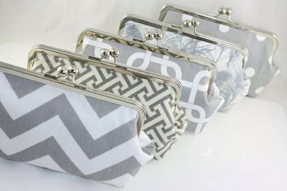 Grey & White Custom Bridesmaid Clutch / Wedding Gift / by FAbridal