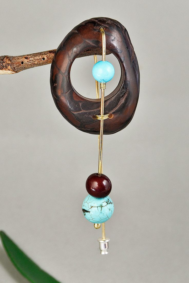 Dark brown tagua brooch with turquoise stone, wide brown vegetable ivory tagua brooch, handmade chunky long brass pin with turquoise by ColorLatinoJewelry on Etsy