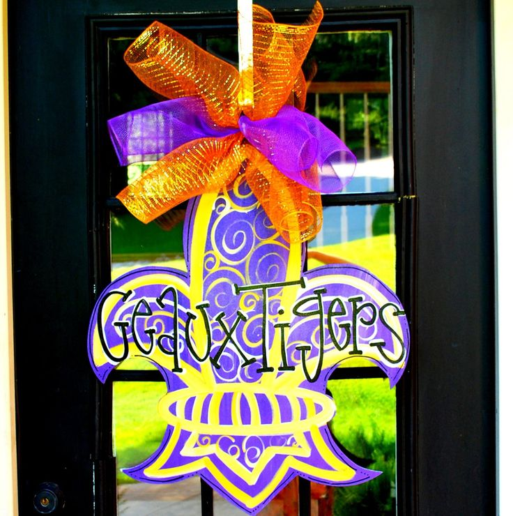 LSU Football Door Hanger, Geaux Tigers, LSU Fleur De Lis, LSU Football Decor