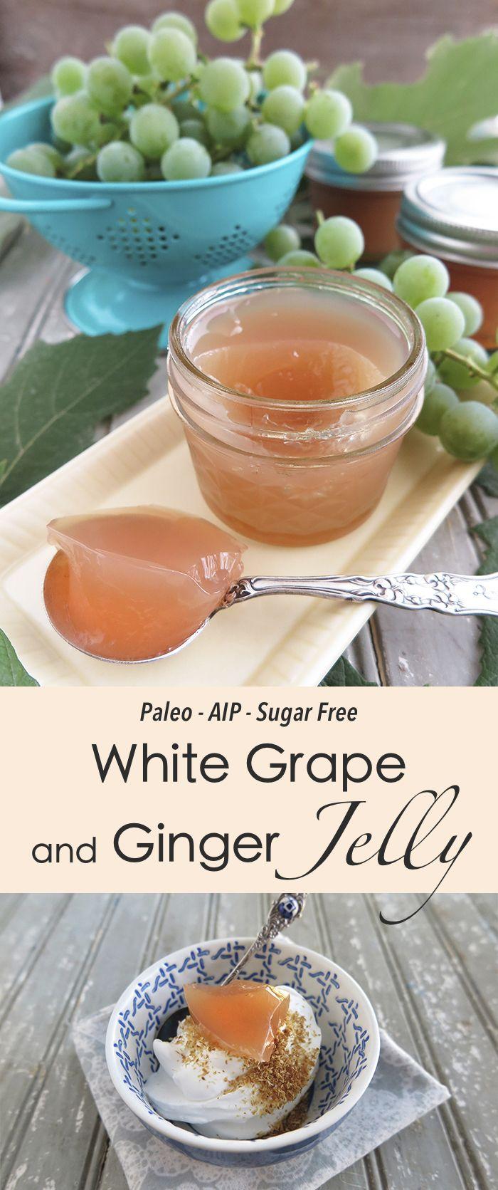 | Sugar Free White Grape and Ginger Jelly with Pomona Pectin (Paleo, AIP)…