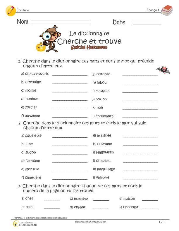Chercher Dans Le Dictionnaire Ce1 : chercher, dictionnaire, Dictionnaire, Cherche, Trouve, Spécial, Halloween, French, Phrases,, Learn, French,, Teaching