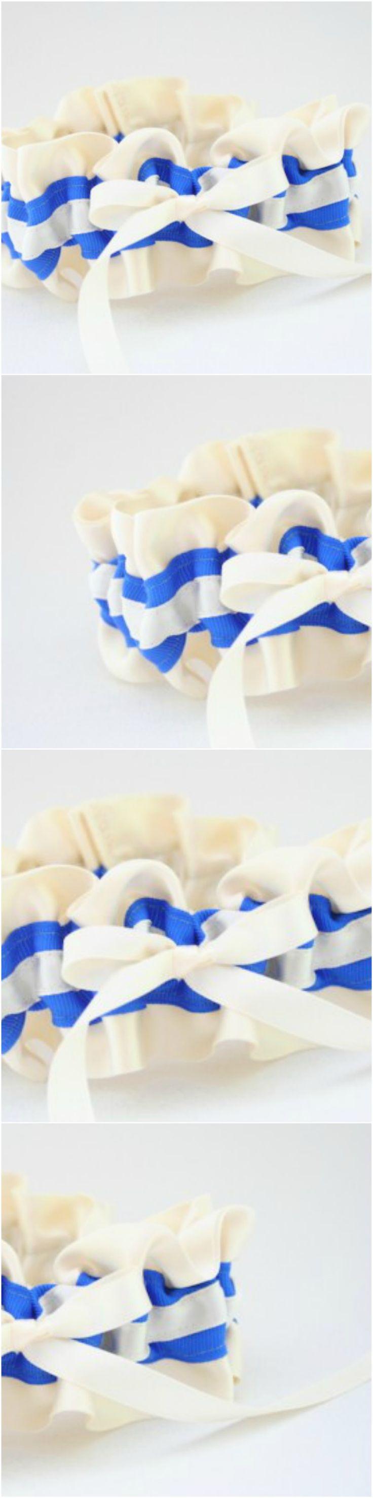 Custom Ivory and Bright Blue wedding garter-by The Garter Girl