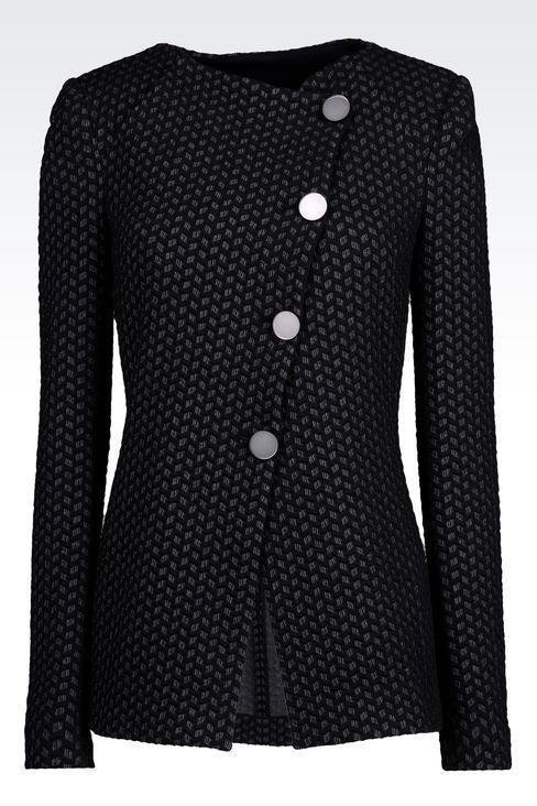 Armani Collezioni Women Dinner Jacket - JACKET IN JACQUARD COTTON BLEND Armani Collezioni Official Online Store