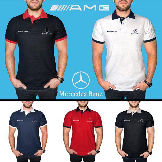 6958514149e Mercedes Benz AMG Polo Shirt EMBROIDERED COTTON Auto Car Logo Mens T Shirt  Tee Clothing Clothes