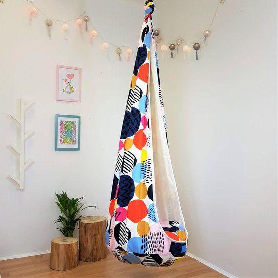 Indoor hammock swing Cocoon hanging seat Toddler swing chair Scandinavian decor Geometric pattern hanging chair Adult swing Nursery decor