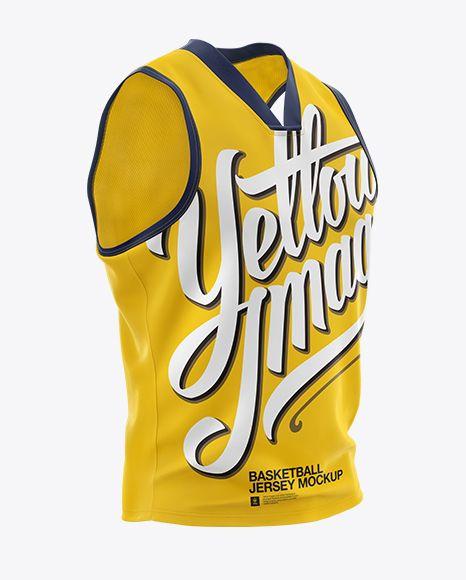 Download Download Basketball Jersey with V-Neck Mockup - Half Side ...