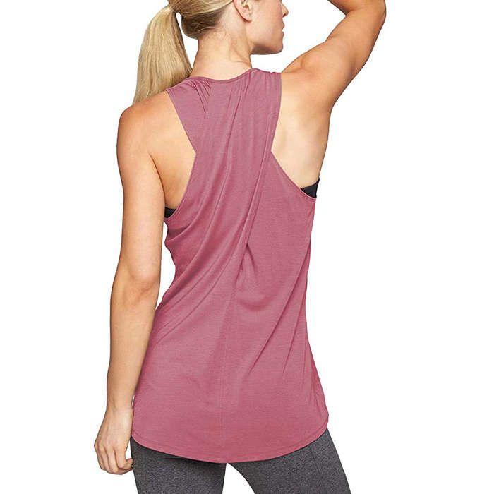 REVETRO Womens Workout Yoga Tops Cross Back Sleeveless Athletic Racerback Tank Tops Backless Gym Exercise Shirts
