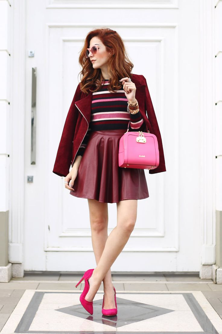 Trying some new colours for autumn and I love the mix of burgundy and pink. Chose a gorgeous skirt, pink bag and high heels for a girly look.
