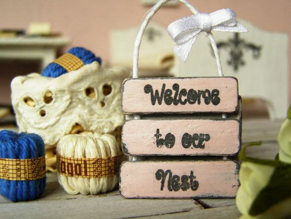 Dollhouse miniature sign shabby sign Welcome sign  by DewdropMinis