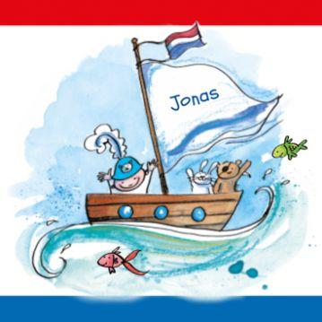 Geboortekaartje met baby piraat in bootje op zee en hollands vlag. Dit piraten geboortekaartje voor een jongen kun je zelf maken.