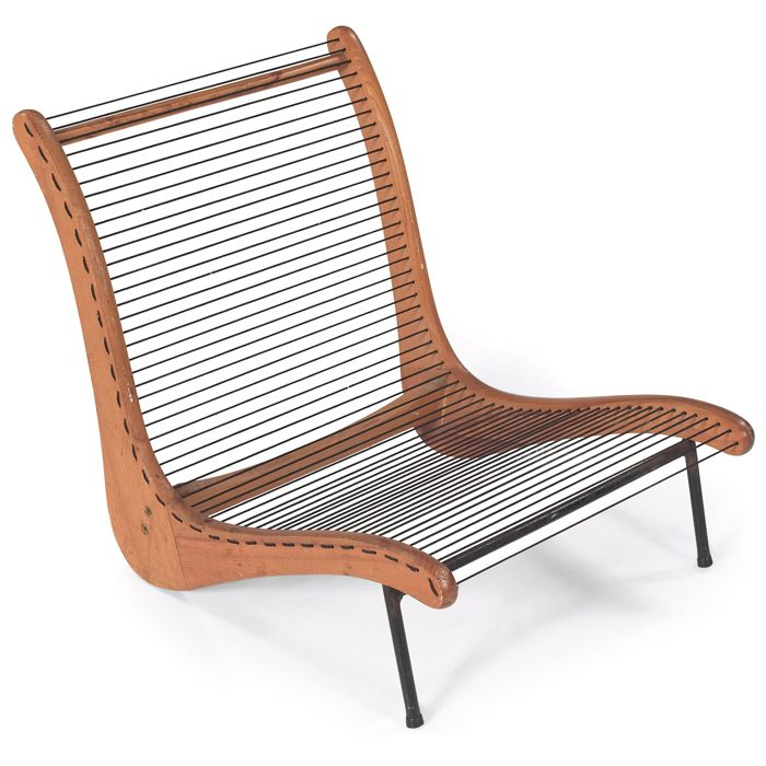 Anonymous; Plywood, Enameled Metal And Cord Lounge Chair By Tubbs, 1950s.