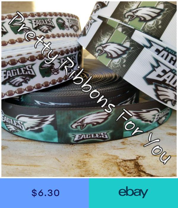 "Philadelphia Eagles 1/"" grosgrain ribbon the listing is for 9 yards 3 each style"