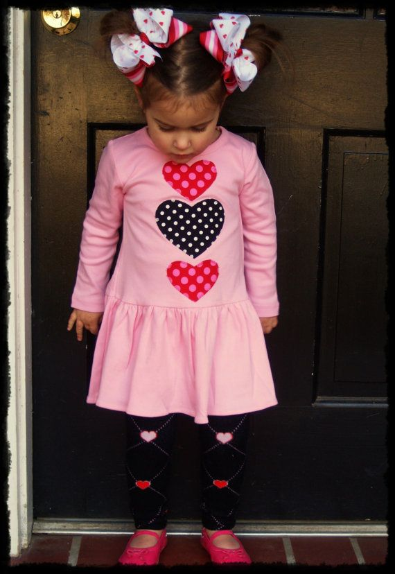 RTS Valentine Heart Dress For Girl Sizes By SweetSophiaDesigns