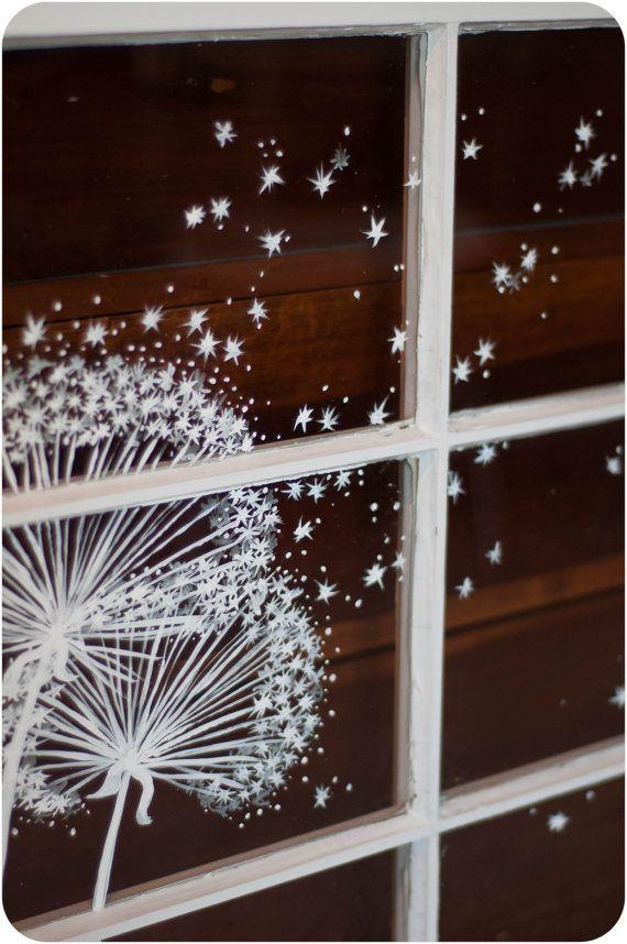 Skurrilen Fenster-Malerei    Löwenzahn Staub von audreygracephoto