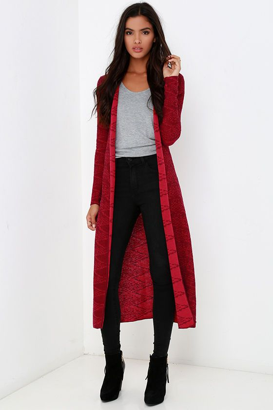 Soft and stretchy ribbed knit with an allover diamond print shapes an open-front cardigan with long sleeves and an extra-long hem.