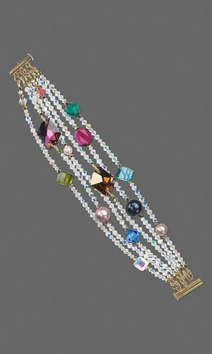 Multi-Strang Armband mit SWAROVSKI ELEMENTS – Fire…