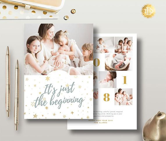 Holiday Greeting Card Design Template New Year Card Photoshop Etsy Holiday Greeting Card Design Holiday Greeting Cards Holiday Card Template