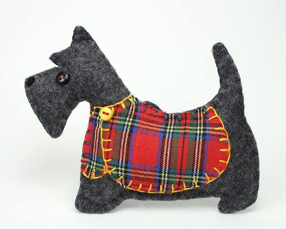 Handmade Scottish Terrier Ornament With Tartan Jacket Dougal Is A