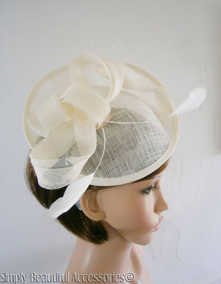 Chic Ivory Cream Fascinator Disc Style Linen and Feather Bow Wedding Races Ascot