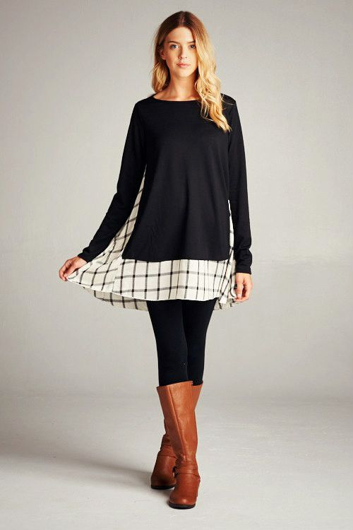 Black Tunic Dress with Plaid Trim ~PRE ORDER~
