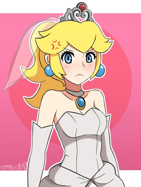 Princess Peach doesn't seem happy about marrying Bowser again in Super Mario Odyssey…Just a quick Peach drawing in her wedding dress from the billboard seen in the new Mario trailer for the Nintendo Switch.