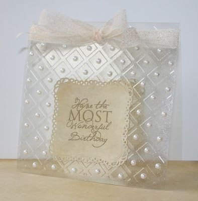 Good morning friends.  Today I have an elegant acetate card to share with you. Using Embossing Folders with acetate is a great way to add a ...