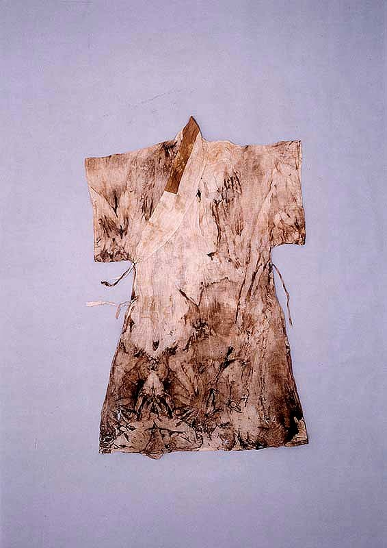 "A silk coat with a straight collar and short sleeves (dapho), from the ""tomb of Go Un (1479-1530), a leading figure representing the Neo-Confucian literati based in the Honam (Jeolla) region during the mid-Joseon Dynasty.... Made of cotton, ramie and silk, the clothes appear to have been worn by Go Un while he was alive."" Important Folklore Cultural Heritage 239."