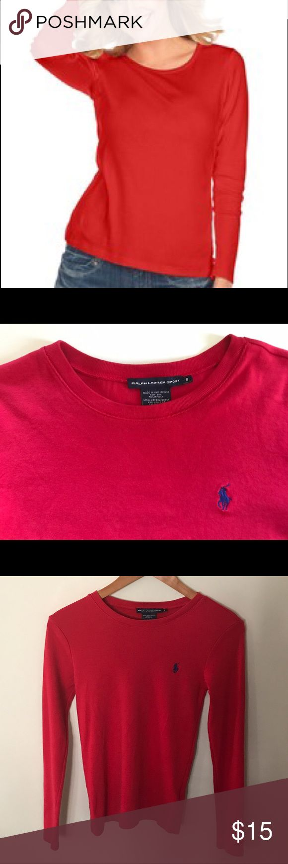 Ralph Lauren Sport Red Polo Tee, Long Sleeve Ralph Lauren Sport long sleeve polo tee. Great RL quality, beautiful RL red with RL navy blue polo logo on front. Size S & runs on the small side so if you are XS-S vs S-M should fit you well. 💯% cotton. Excellent condition, no flaws, like new. I launder all clothes before I package for you & package to protect your purchase. Shipping is same or next day. Ralph Lauren Tops Tees - Long Sleeve
