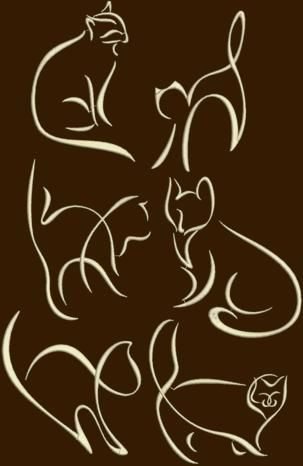 Advanced Embroidery Designs - Cat Silhouette Set