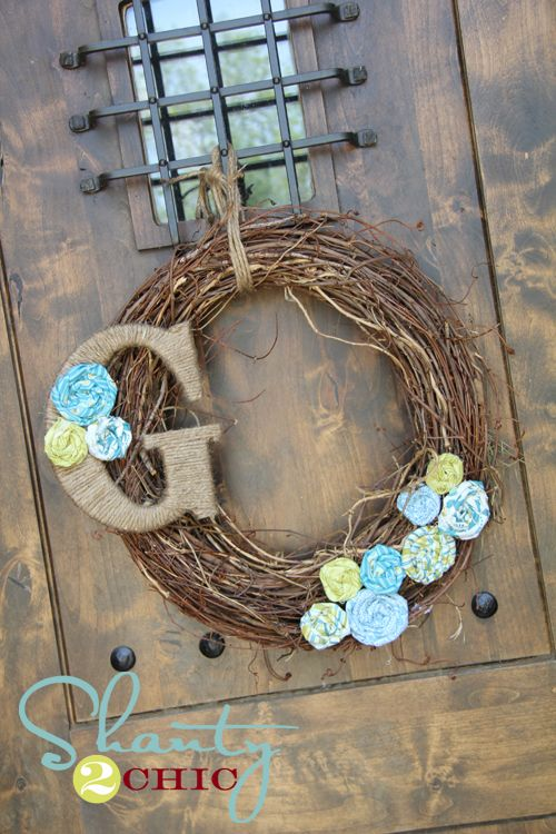 cheap and easy spring wreath initials spring wreaths. Black Bedroom Furniture Sets. Home Design Ideas