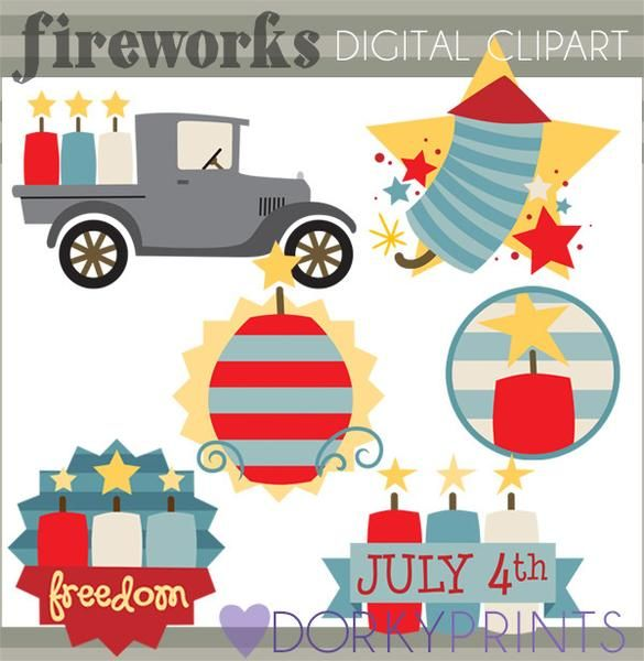 4th of July Fireworks Clipart - lots of fun for July 4th crafts!