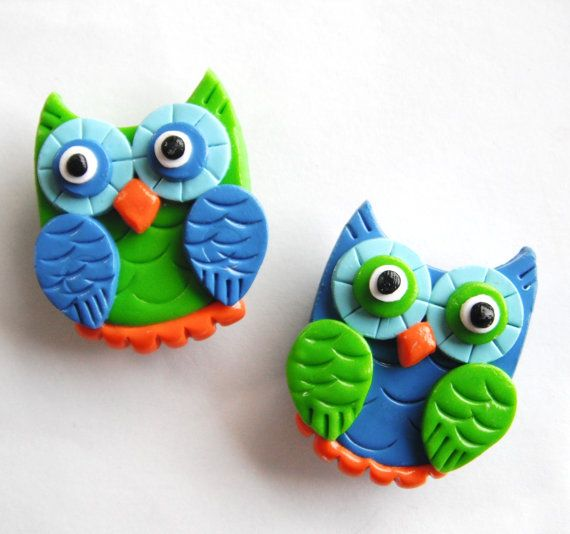 Magnet Owls handmade polymer clay magnets  2  by digitsdesigns