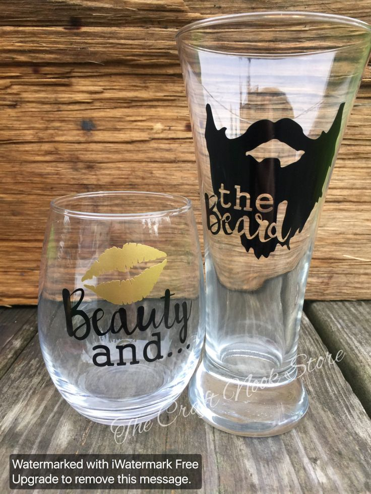 A personal favorite from my Etsy shop https://www.etsy.com/listing/258893269/beauty-and-the-beard-couple-glass-set