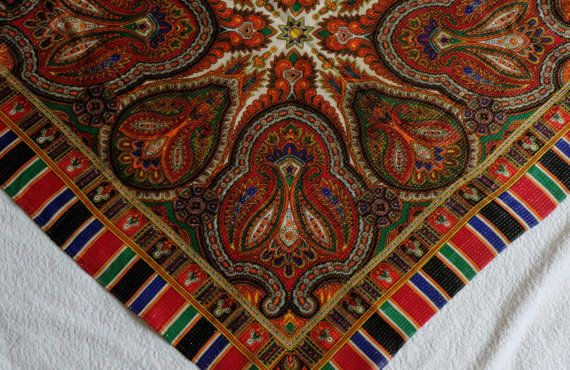 Motley patterned shawl multicolor head / neck by MadeInTheUSSR