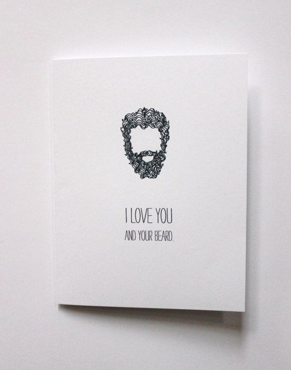 Beard Love Greeting Card READY TO SHIP by hazelwonderland on Etsy, $4.00