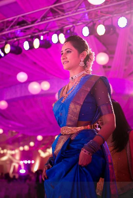 South Indian bride. Temple jewelry. Jhumkis.Blue silk kanchipuram sari.Braid with fresh flowers. Tamil bride. Telugu bride. Kannada bride. Hindu bride. Malayalee bride.Kerala bride.South Indian wedding.